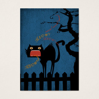 Terrified Black Cat on Halloween Night Business Card