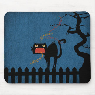 Terrified Black Cat on Halloween Night Mouse Pad