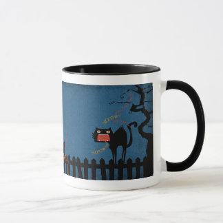 Terrified Black Cat on Halloween Night Mug