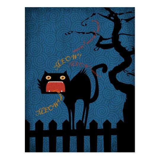 Terrified Black Cat on Halloween Night Postcard