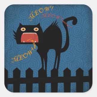 Terrified Black Cat on Halloween Night Square Sticker