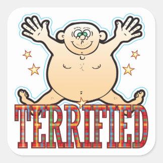 Terrified Fat Man Square Sticker