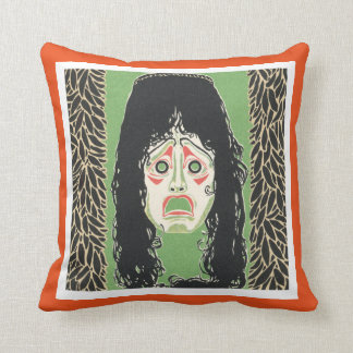Terrified With Black Messy Hair Throw Pillow