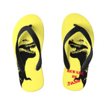 Terrifying T-Rex Dinosaur Graphic Kid's Flip Flops