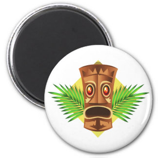 Terrifying Tiki Tropical Statue With Palms 2 Inch Round Magnet