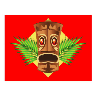 Terrifying Tiki Tropical Statue With Palms Postcard