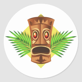 Terrifying Tiki Tropical Statue With Palms Round Sticker
