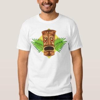 Terrifying Tiki Tropical Statue With Palms Tee Shirt