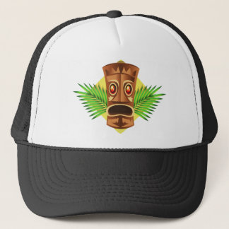 Terrifying Tiki Tropical Statue With Palms Trucker Hat