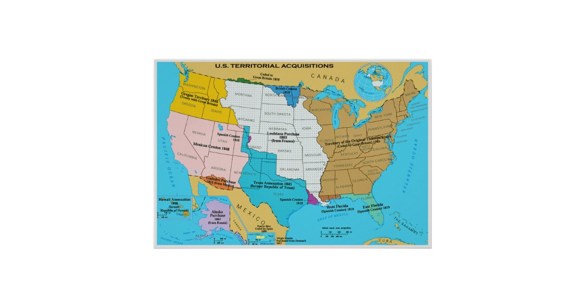 Territorial Acquisitions Of The United States Poster Zazzlecom - Us territorial acquisitions