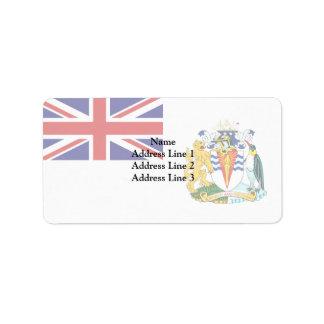 Territorio antártico británico, bandera de la etiqueta de dirección