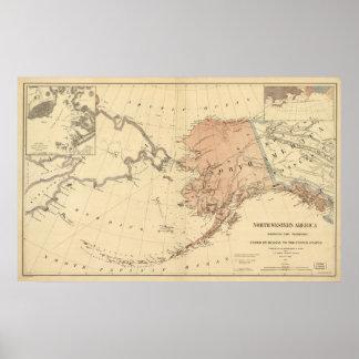Territorio de Alaska de 1867 mapas vendido a los E Póster