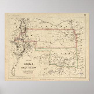 Territorio de Kansas y de nativos americanos Póster