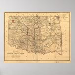 Territorio de Oklahoma del mapa del territorio de  Poster