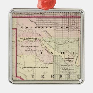 Territorio indio 2 adorno navideño cuadrado de metal