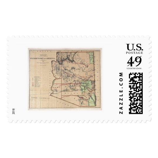 Territory Of Arizona Map 1876 Postage