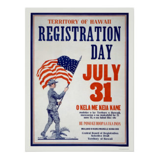 Territory of Hawaii Registration Day July 31 Poster