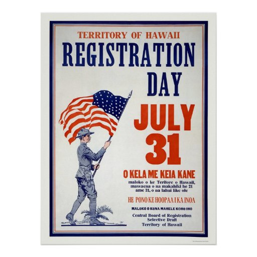 Territory of Hawaii Registration Day July 31 Posters