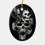 Terror of Halloween - Double-Sided Oval Ceramic Christmas Ornament
