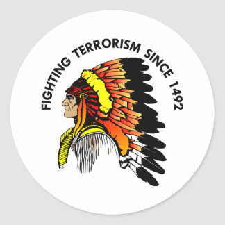 Terrorismo que lucha del jefe indio etiqueta redonda