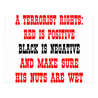 Terrorist Rights Red Is Positive Black Is Negative Postcard
