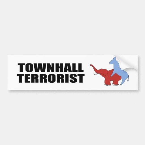 Terrorista de Townhall Etiqueta De Parachoque