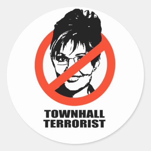 Terrorista de Townhall Pegatina Redonda