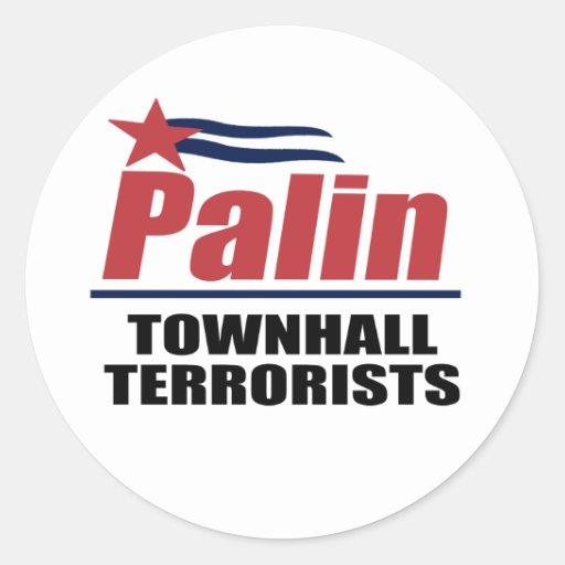 Terroristas de Townhall Pegatina Redonda