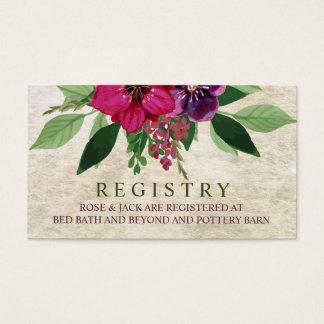 Terroso, tarjeta del registro del boda del tarjetas de visita