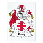 """Terry Family Crest 5"""" X 7"""" Invitation Card"""