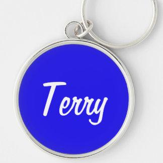 Terry Silvery Round Keychain