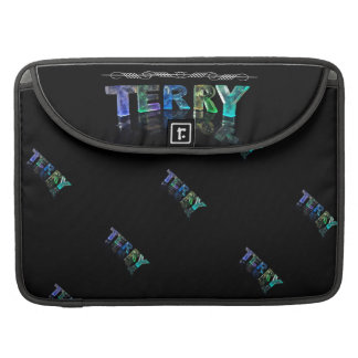 Terry  - The Name Terry in 3D Lights (Photograph) MacBook Pro Sleeves
