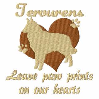 Tervurens Leave Paw Prints Embroidered Shirt