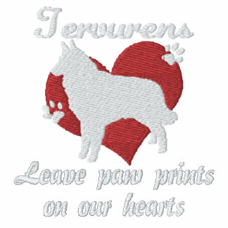 Tervurens Leave Paw Prints Embroidered T-Shirt