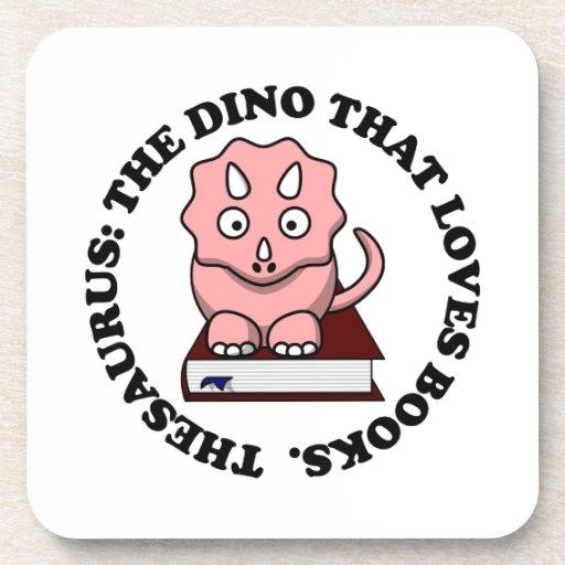 Tesauro: Un dinosaurio que ama los libros de Posavasos De Bebidas