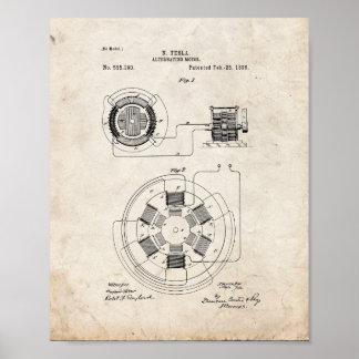 Tesla Alternating Motor Patent - Old Look Poster