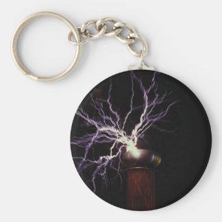 Tesla coil arcing basic round button keychain