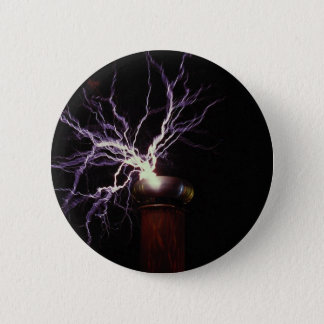 Tesla coil arcing pinback button