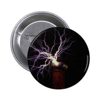Tesla coil arcing pinback button