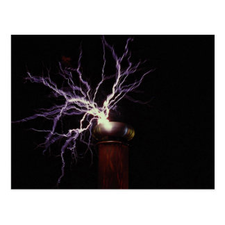 Tesla coil arcing postcards