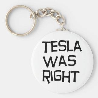 Tesla correcto llavero redondo tipo pin