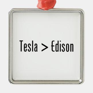 Tesla > Edison Adorno Navideño Cuadrado De Metal