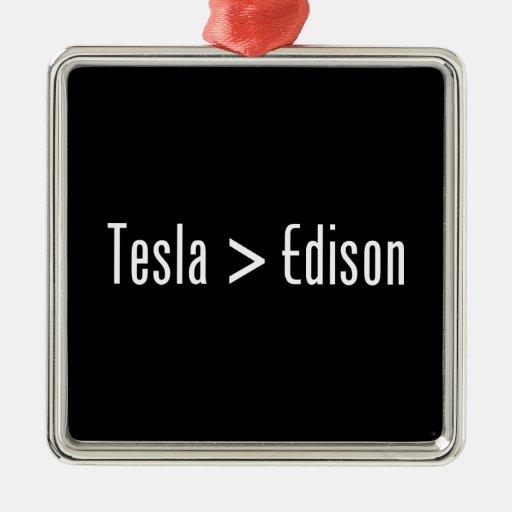 Tesla > Edison Metal Ornament