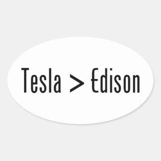 Tesla > Edison Pegatina Ovalada