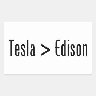 Tesla > Edison Pegatina Rectangular