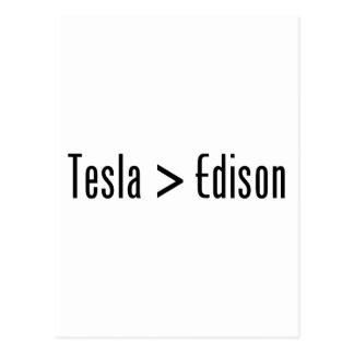 Tesla > Edison Postcard