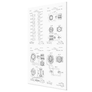 Tesla Elecro-Magnet Motor Patent US381968 p 1-4 Canvas Print