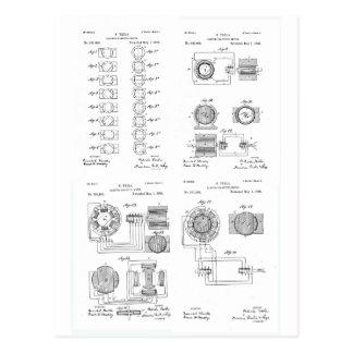 Tesla Elecro-Magnet Motor Patent US381968 p 1-4 Postcard