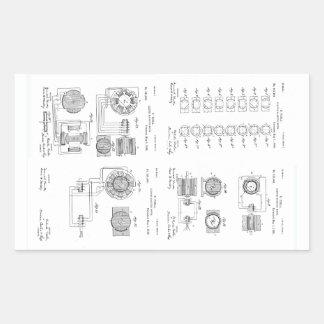 Tesla Elecro-Magnet Motor Patent US381968 p 1-4 Rectangular Sticker