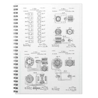 Tesla Elecro-Magnet Motor Patent US381968 p 1-4 Spiral Notebook
